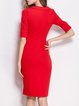 Elegant Square Neck Half Sleeve Bodycon Midi Dress