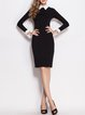 Classic White Shirt-Collar Long Sleeves Sheath Dress