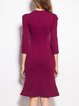 Burgundy Ruched Flounce Solid Elegant Midi Dress