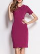 Burgundy Solid Shirt Collar Elegant Midi Dress