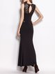 Sleeveless Flounce Elegant Crew Neck Evening Dress