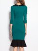 V Neck Flounce Color-block Elegant Midi Dress