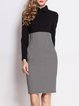 Black Shirt Collar Houndstooth Elegant Sheath Work Dress