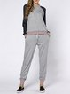 Gray Crew Neck Casual Sports Two Piece Jumpsuit
