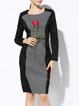 Geometric Elegant Crew Neck Long Sleeve Cotton-blend Midi Dress