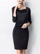Black Elegant Ruched Cowl Neck Midi Dress