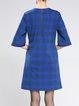 Blue Zipper 3/4 Sleeve Checkered/Plaid Midi Dress