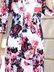 Multicolor Elegant Cotton-blend Bodycon Floral Midi Dress