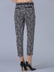 Black Checkered/Plaid Casual Paneled Cotton-blend Cropped Pants