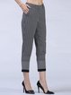 Black Geometric Pockets Casual Cropped Pants