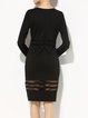 Black Bodycon See-through Look Long Sleeve Cotton-blend Midi Dress