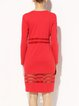 Red Plain Bodycon Cotton-blend Sexy Midi Dress