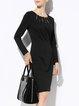 Black Cutout Bodycon Cotton-blend Elegant Midi Dress