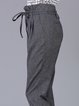 Gray Plain Simple High Rise Cropped Pants With Belt