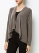 Gray Asymmetric Solid Casual Cotton-blend Coat