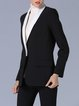 Black Formal Color-block Plain Blazer