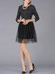 Black Elegant Lace Mesh Mini Dress
