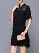 Paneled Stand Collar Sheath Half Sleeve Mini Dress