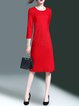 Wool Blend Red Elegant Paneled Midi Dress