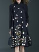 Black Vintage Floral-embroidered Stand Collar Midi Dress