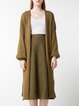 Army Green Cotton Balloon Sleeve Slit Solid Cardigan