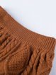Brown Knitted Crew Neck Casual Cotton Top With Skirt