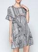 Gray Stripes Casual Printed Crew Neck Midi Dress