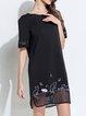 Black Short Sleeve H-line  Midi Dress