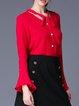 Buttoned V Neck Bell Sleeve Elegant Solid Blouse