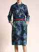 Blue Cotton-blend Elegant Jacquard H-line Midi Dress With Belt