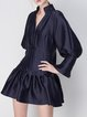 Ruffled Long Sleeve A-line Statement Plain Mini Dress