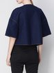 Dark Blue Wool Blend Buttoned Simple Cropped Jacket
