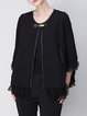 Black Cotton-blend Casual Polka Dot Mesh Paneled Coat