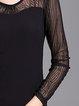 Long Sleeve Cotton-blend Mesh Paneled T-Shirt