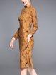 Stand Collar Vintage Jacquard Sweater Dress
