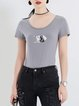 Gray Printed Short Sleeve Sheath Geometric T-Shirt