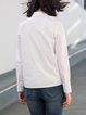 White Cotton Embroidered Shirt Collar Casual Blouse