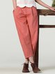 Orange Plain Simple Cotton-blend Buttoned Wide Leg Pants