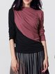 Ruched Color-block Plain Casual Long Sleeve Top