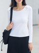 White Cotton-blend Boat Neck Buttoned Long Sleeve Top