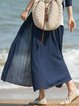 Navy Blue Pleated Casual Solid Maxi Skirt