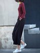 Wine Red Plain Casual Embroidered Long Sleeved Top