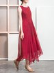 Red Embroidered Asymmetrical Vintage Crew Neck Maxi Dress