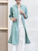 Aqua Blue Plain Simple Embroidered Cotton-blend Tunic