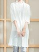 White Cotton-blend Lapel Plain Long Sleeve Coat