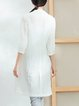 White Cotton-blend Lapel Plain Long Sleeve Coat
