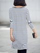 Navy Blue Stripes Slash Neck Casual Tunic