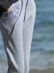 Gray Casual Embroidered Plain Cotton-blend Track Pants