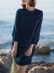 Dark Blue Embroidered Crew Neck Plain Casual Mini Dress
