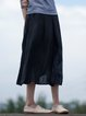 Black Casual Embroidered Linen Midi Skirt
